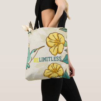 Belimitless- Humming bird with beautiful flowers Tote Bag