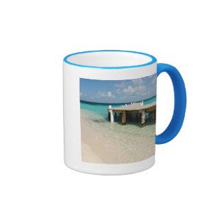 Belize, Caribbean Sea, Goff Caye. A Small Island Ringer Coffee Mug