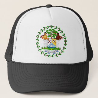 Belize coat of arms trucker hat