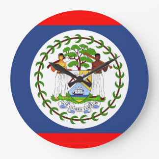 Belize flag country symbol large clock