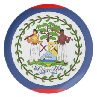 Belize flag country symbol plate
