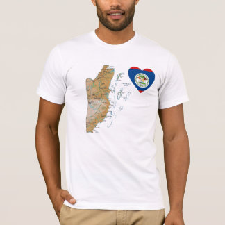 Belize Flag Heart + Map T-Shirt