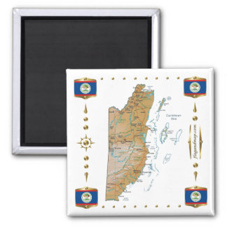 Belize Map + Flags Magnet