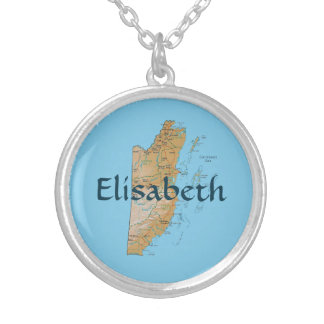 Belize Map + Name Necklace