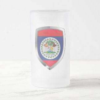 Belize Mettalic Emblem Frosted Glass Beer Mug
