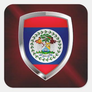 Belize Mettalic Emblem Square Sticker