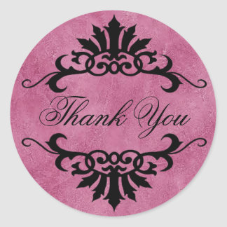 Belize Scroll Flourish Thank You (lilac/black) Classic Round Sticker