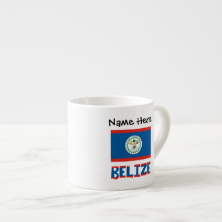 Belizean Flag and Belize with Name Espresso Cup
