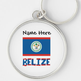 Belizean Flag and Belize with Name Keychain