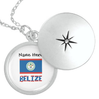 Belizean Flag and Belize with Name Sterling Silver Necklace