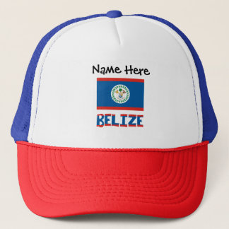 Belizean Flag and Belize with Name Trucker Hat