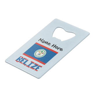 Belizean Flag and Belize with Name Wallet Bottle Opener