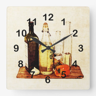 Bell pepper, garlic and cooking oils square wall clock