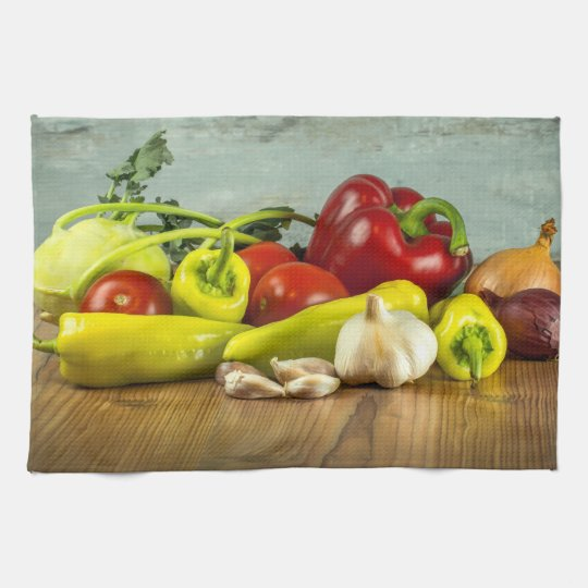 Bell Pepper Onion and Garlic Kitchen Towel