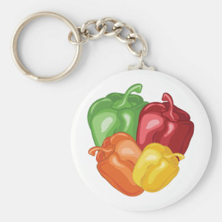 Bell Peppers Basic Round Button Keychain