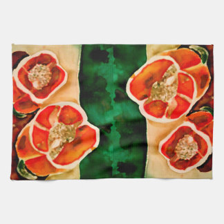 Bell Peppers Vegies Watercolor Kitchen Dish Towels