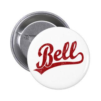 Bell script logo in red 2 inch round button