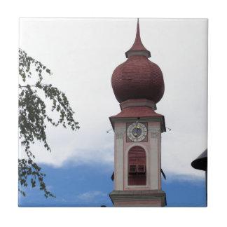 Bell tower, parish church . Ortisei, Val Gardena Tile
