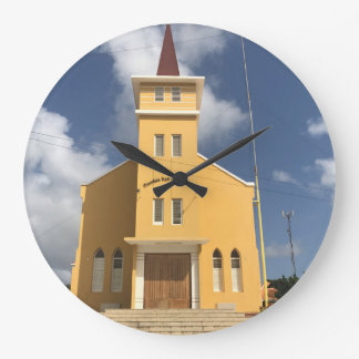 Bell yellow church. large clock