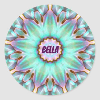 BELLA ~ Personalised Paua Shell Fractal ~ Classic Round Sticker