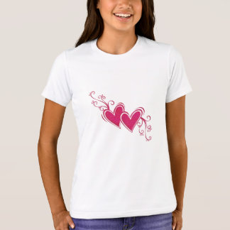 Bella t-shirt+Canvas Crew, Pink Neon - Hearts T-Shirt