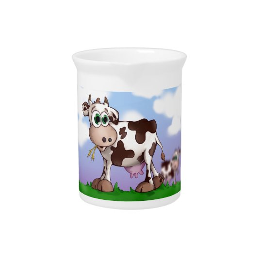 Bella The Cow Eating Hay on a Hill Top Drink Pitcher