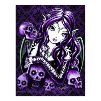 """Belladonna"" Gothic Purple Skull Fairy Postcard"