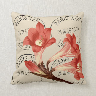 Belladonna Lily Redouté Illustration Throw Pillow