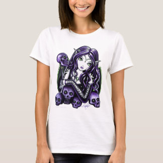 """Belladonna"" Purple Skull Black Babydoll Tee"