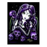 Belladonna Purple Skulls Faerie Postcard