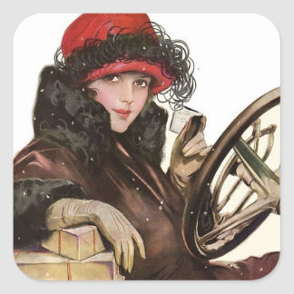 Belle, a vintage lady Christmas shopping Square Sticker