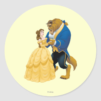 Belle and Beast Dancing Round Sticker