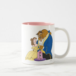 Belle and Beast Holding Hands Two-Tone Coffee Mug