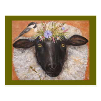 Belle and Chicky (sheep and chickadee) postcard