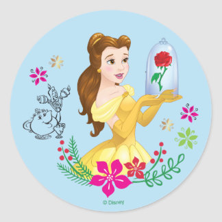 Belle | Belle And Her Christmas Rose Classic Round Sticker
