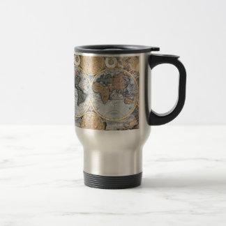 Belle carte antique d'atlas mug de voyage en acier inoxydable