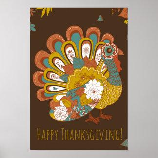 Belle carte de la Turquie de bon thanksgiving Poster