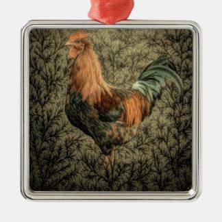 Belle conception rustique de coq ornement carré argenté