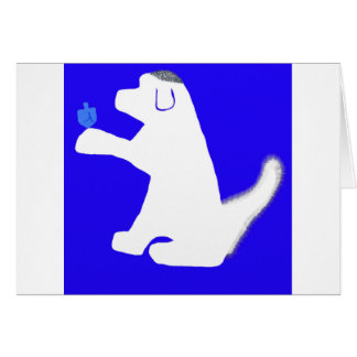 Belle Dreidel Hanukkah card with white dog