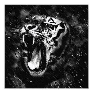 Belle faune noire et blanche de tête de tigre carton d'invitation  13,33 cm