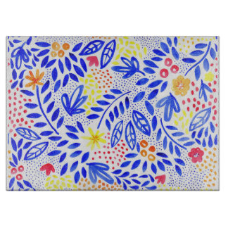 Belle  Floral Glass Chopping Board