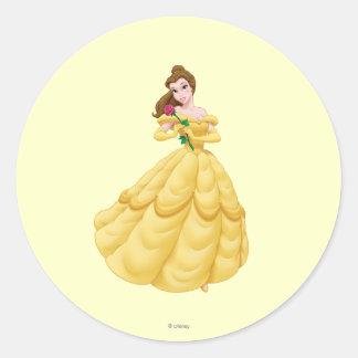 Belle Holding Rose Round Sticker