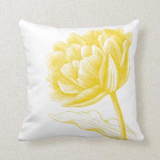 Belle illustration florale vintage jaune oreillers