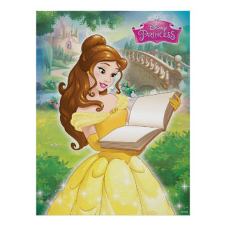 Belle Reading in Garden Poster