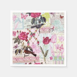 Belle Rose Pink Paper Napkin