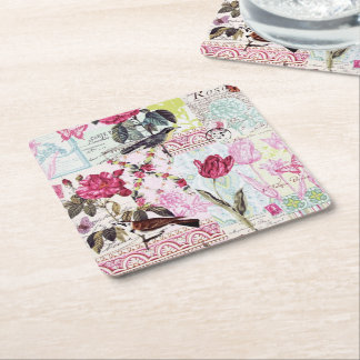 Belle Rose Pink Square Paper Coaster