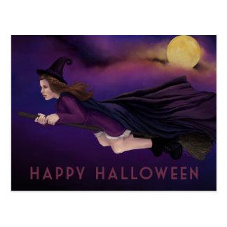 Belle sorcière peignant la carte postale de Hallow
