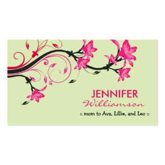 Belle télécarte florale de maman : : vert/rose carte de visite standard