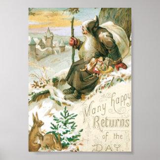 Belle vieille peinture du père noël poster