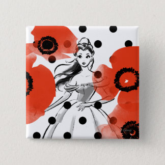 Belle With Poppies and Polka Dots 2 Inch Square Button